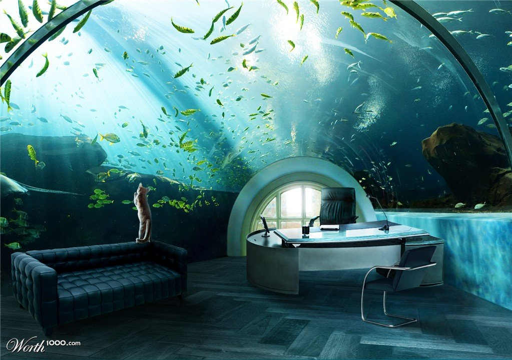 Awesome Ridiculous Home Office: Aquarium Desk