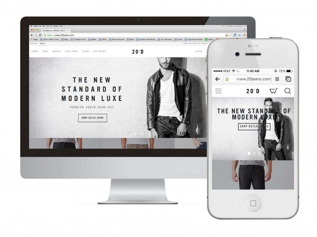 Responsive Website Examples: 20Jeans x DSTLD