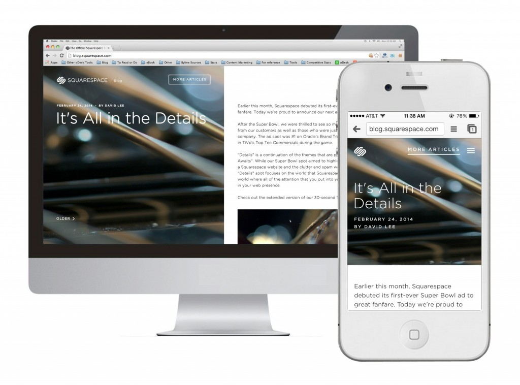 Responsive Website Examples: Squarespace Blog