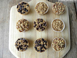Personal Sized Baked Oatmeal with Individual Toppings via SugarFreeMom.com