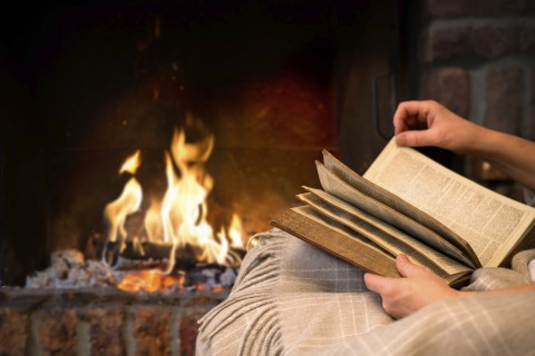 Image result for reading a book by the fire
