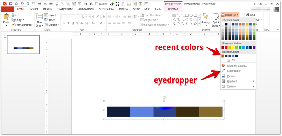 A screenshot of the eyedropper tool in PowerPoint