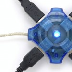 Connected usb hub with blue light, isolated white
