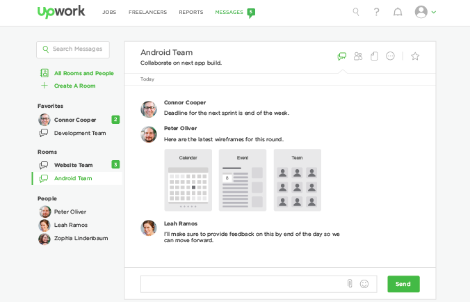 Upwork Messages collaboration tool