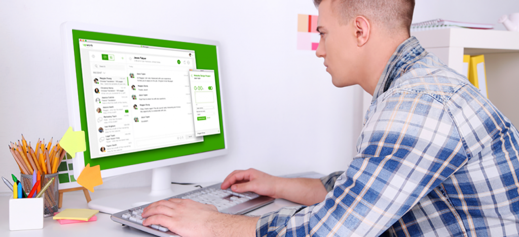 A man using Upwork Messages, which now has video, voice, screenshare and integrations