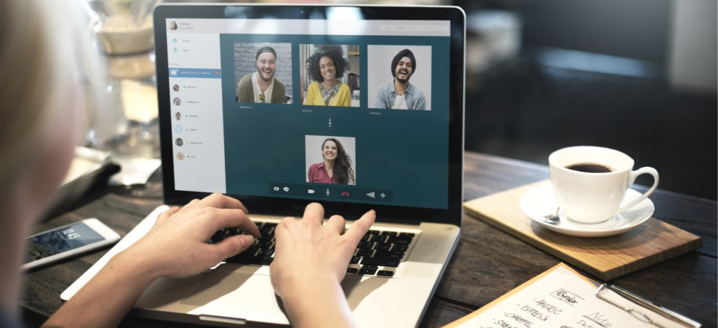 woman have a work video conference