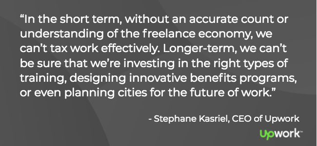 """In the short term, without an accurate count or understanding of the freelance economy, we can't tax work effectively. Longer-term, we can't be sure that we're investing in the right types of training, designing innovative benefits programs, or even planning cities for the future of work."" — Stephane Kasriel, CEO of Upwork"