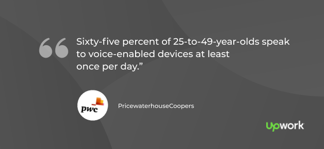 """""""Sixty-five percent of 25-to-49-year-olds speak to voice-enabled devices at least once per day."""" (Source: PwC)"""
