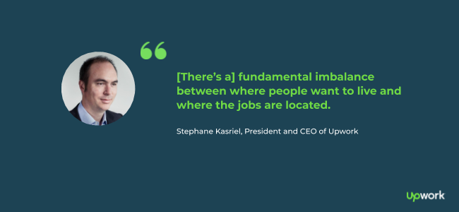 """[There's a] fundamental imbalance between where people want to live and where the jobs are located."" —Stephane Kasriel, President and CEO of Upwork"
